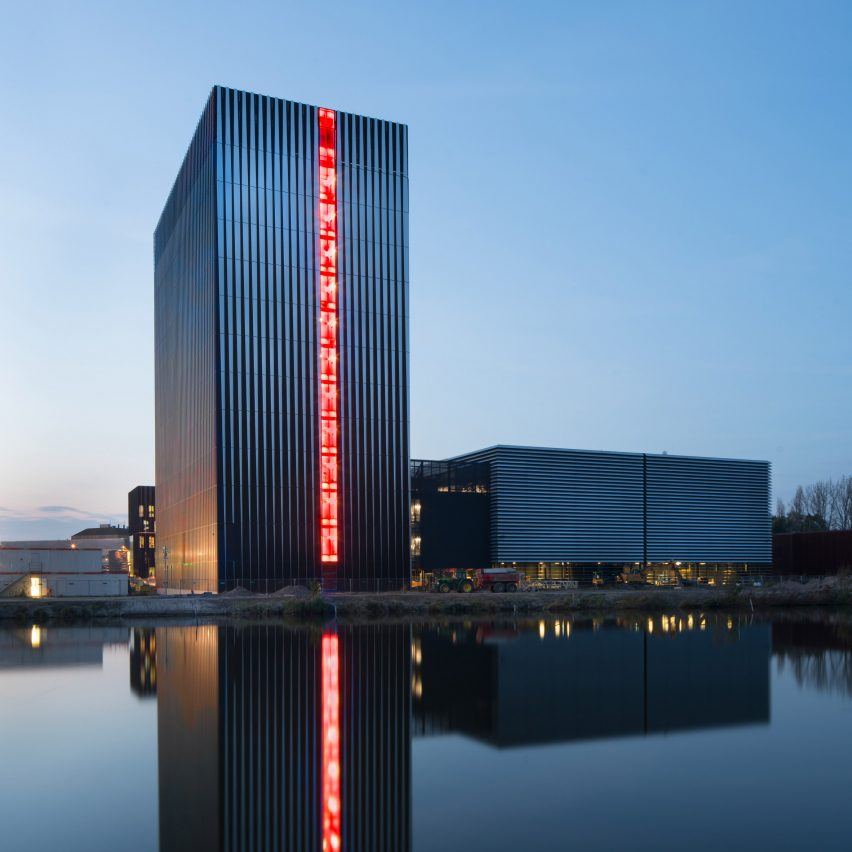 Benthem crouwel adds stripy tower surrounded by a moat to for Industrial design amsterdam