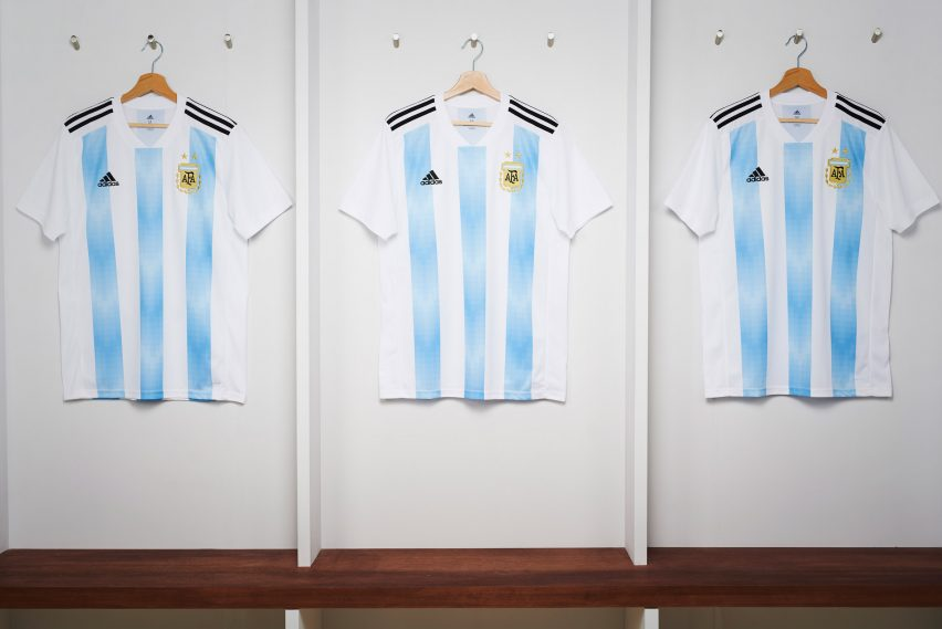 9694b1653e2 Adidas used Argentina's new home kit as an opportunity to celebrate the  Argentine Football Association's 125-year anniversary, by incorporating  laurels, ...