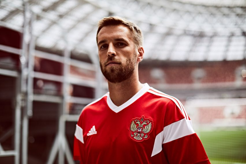 d76706801 Host nation Russia s new shirt is a revision of the jersey worn by the  Soviet Union during the 1988 Seoul Olympic Games