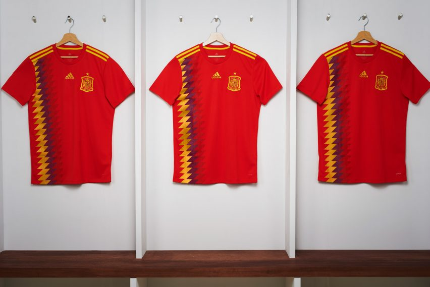 0ed83ae7132 Spain's national side, who won their first World Cup in 2010, will take to  the field in a traditional red and yellow kit. It features a diamond-shaped  ...