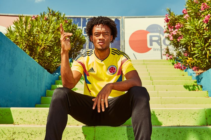 4bea71669 Colombia s striking new yellow home kit is directly inspired by their  iconic World Cup 1990 version. It features similar spiky blue and red  graphics on the ...