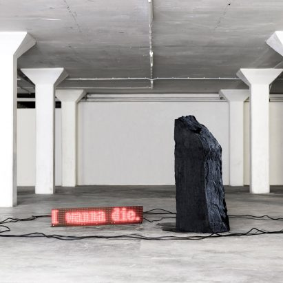 Design Academy Eindhoven graduate Fujita Keisuke has made an installation that uses real-time suicide Tweets to send mechanical signals across to a block of solid carbon