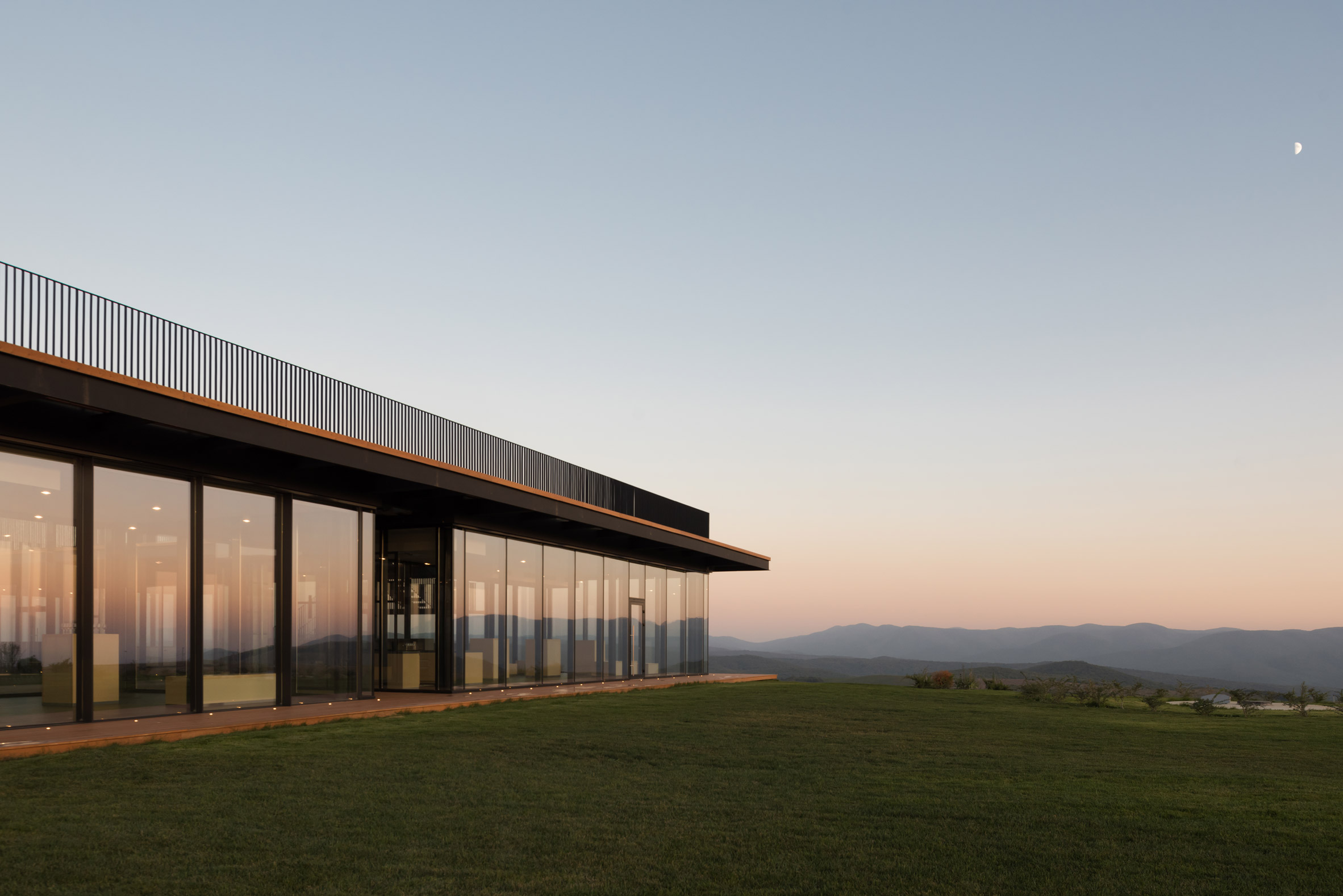 Gai-Kodzor Winery is a concrete and glass building perched on a hilltop in Russia