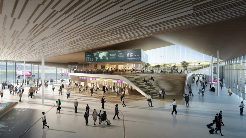 UNStudio's Kutaisi airport extension features an open air rooftop plaza