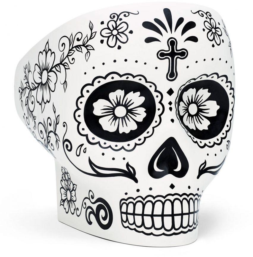 Skull-shaped Jolly Roger armchair designed by Fabio Novembre for Italian brand Gufram