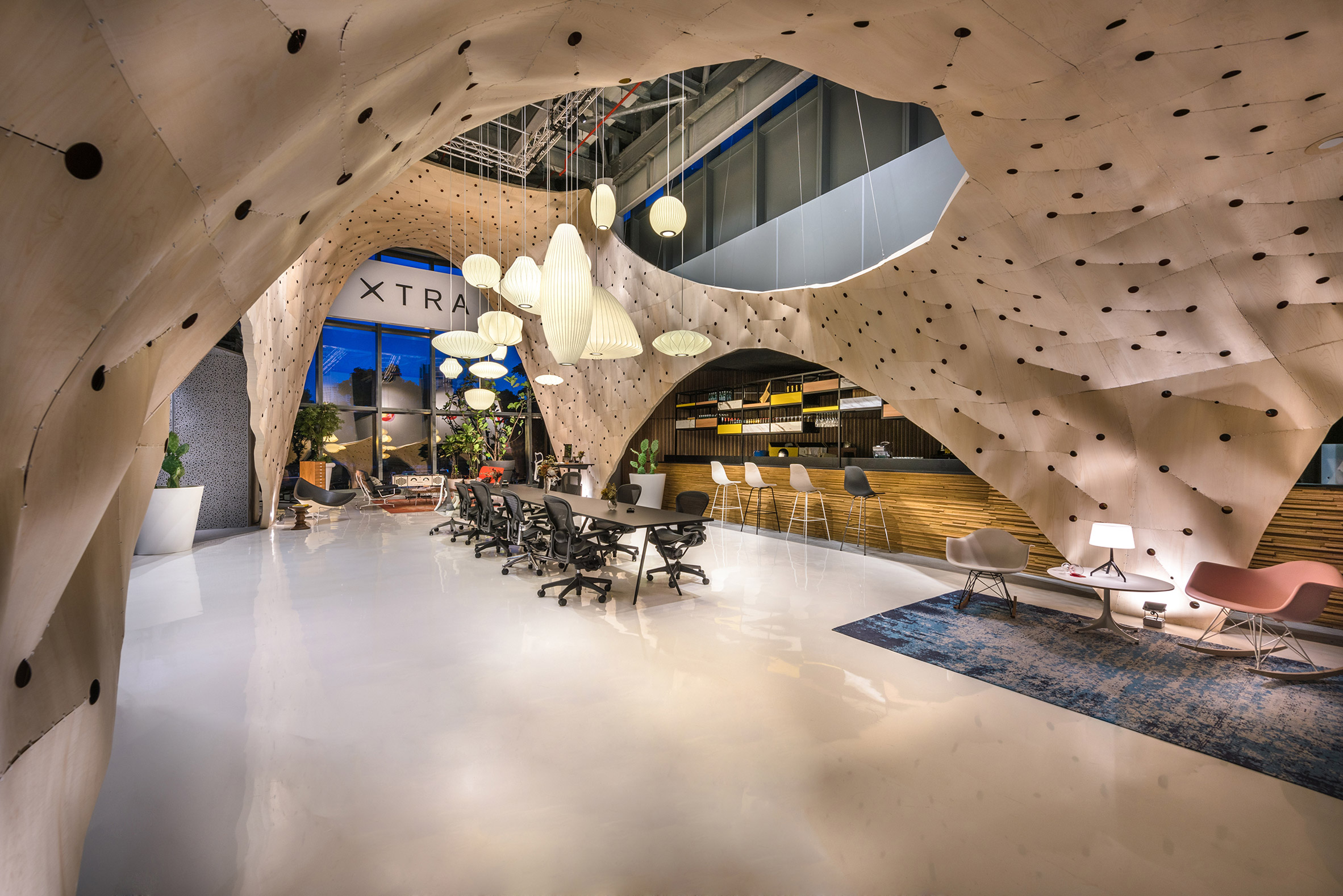 """Produce Workshop used """"tailoring tactics"""" to create plywood pavilion for Herman Miller"""