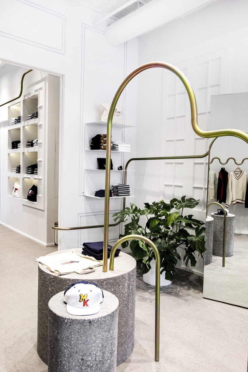 Mathieu Lehanneur snakes metal rails through Maison Kitsuné boutique
