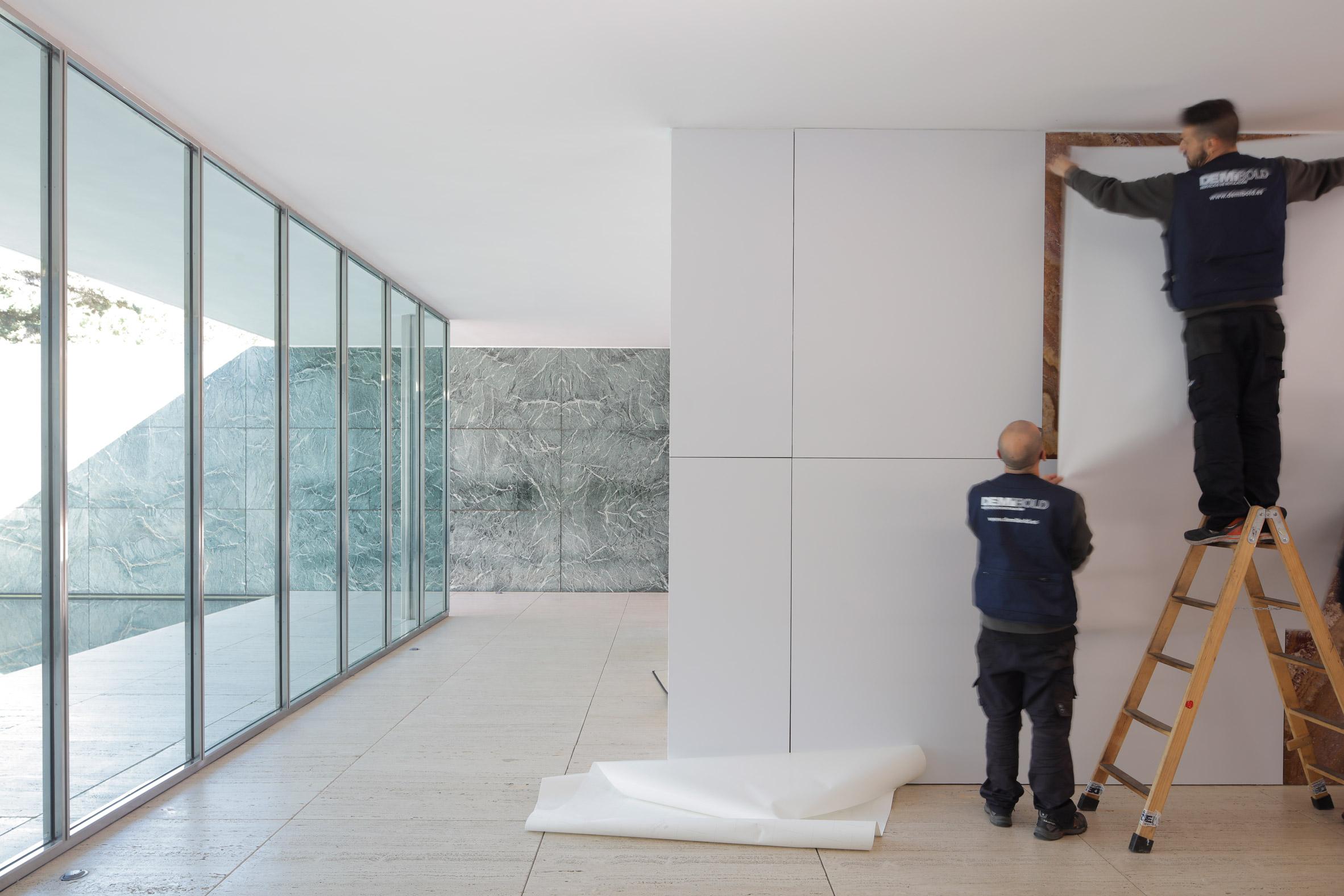 Mies van der Rohe's Barcelona Pavilion loses its marble walls