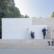 Mies van der Rohe's Barcelona Pavilion loses its marble walls