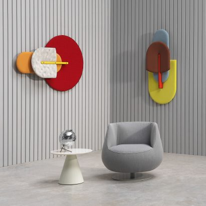 fabric acoustic panels are designed to look like beetles