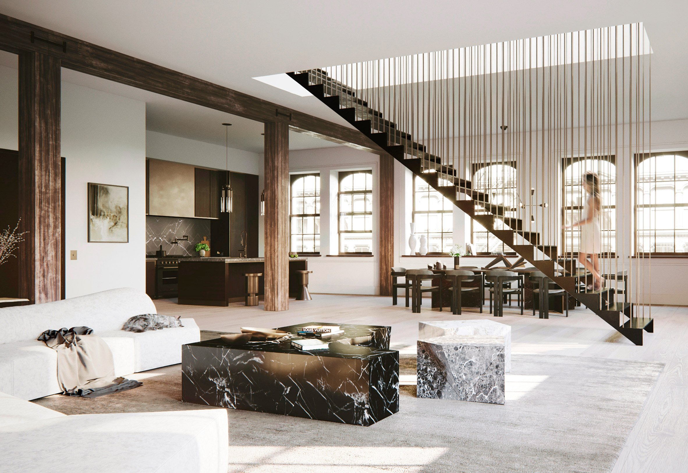 hanging staircase divides spacious new york loft by djds. Black Bedroom Furniture Sets. Home Design Ideas