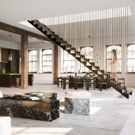 Hanging staircase divides spacious New York loft design by DJDS