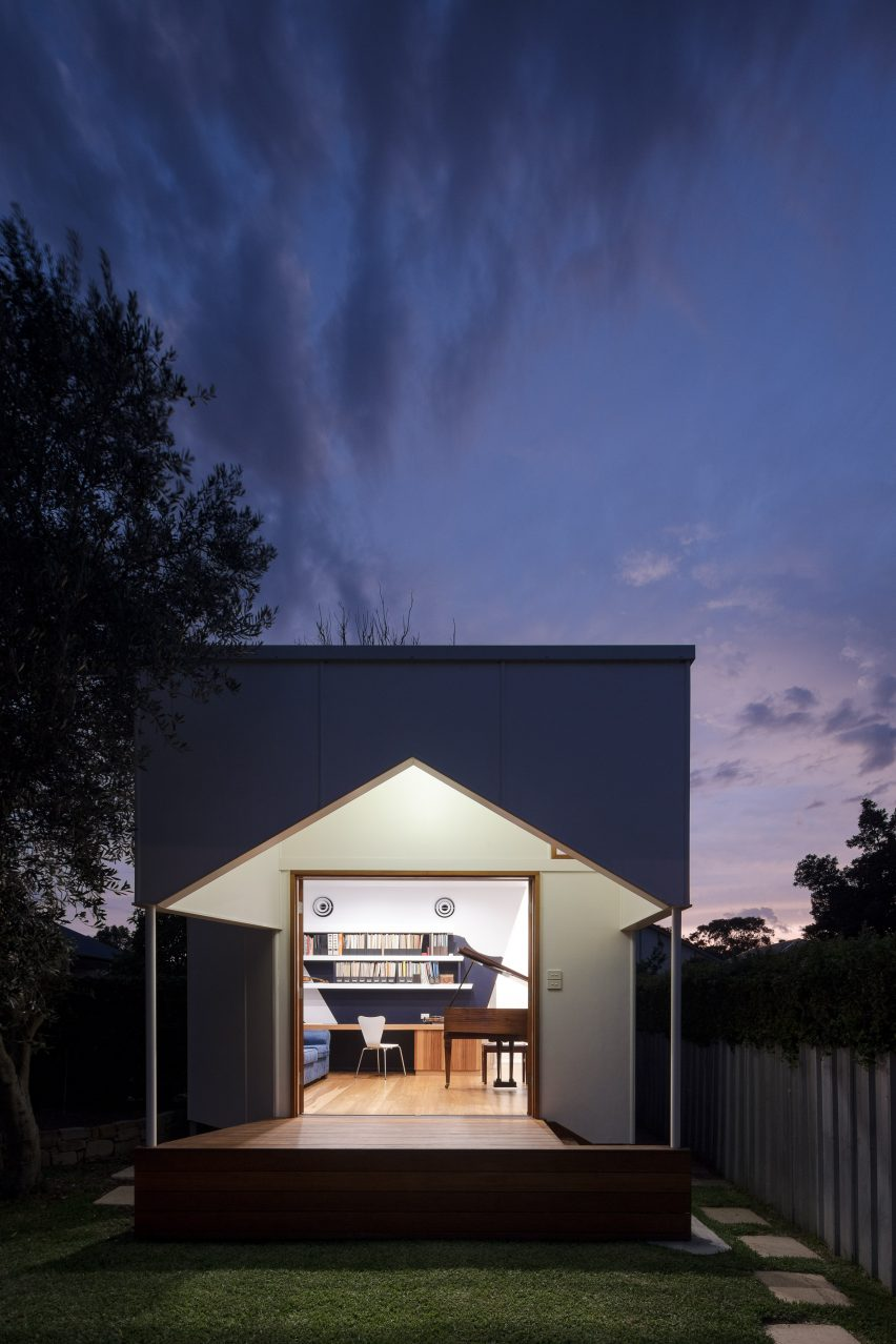 m3 architecture adds music studio with stage to garden of