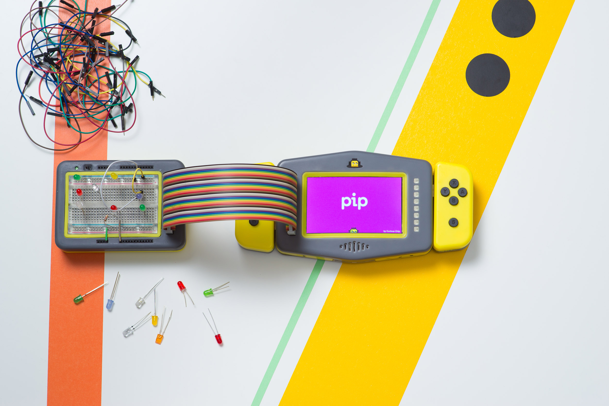 Pip is a portable gaming device that teaches children to code