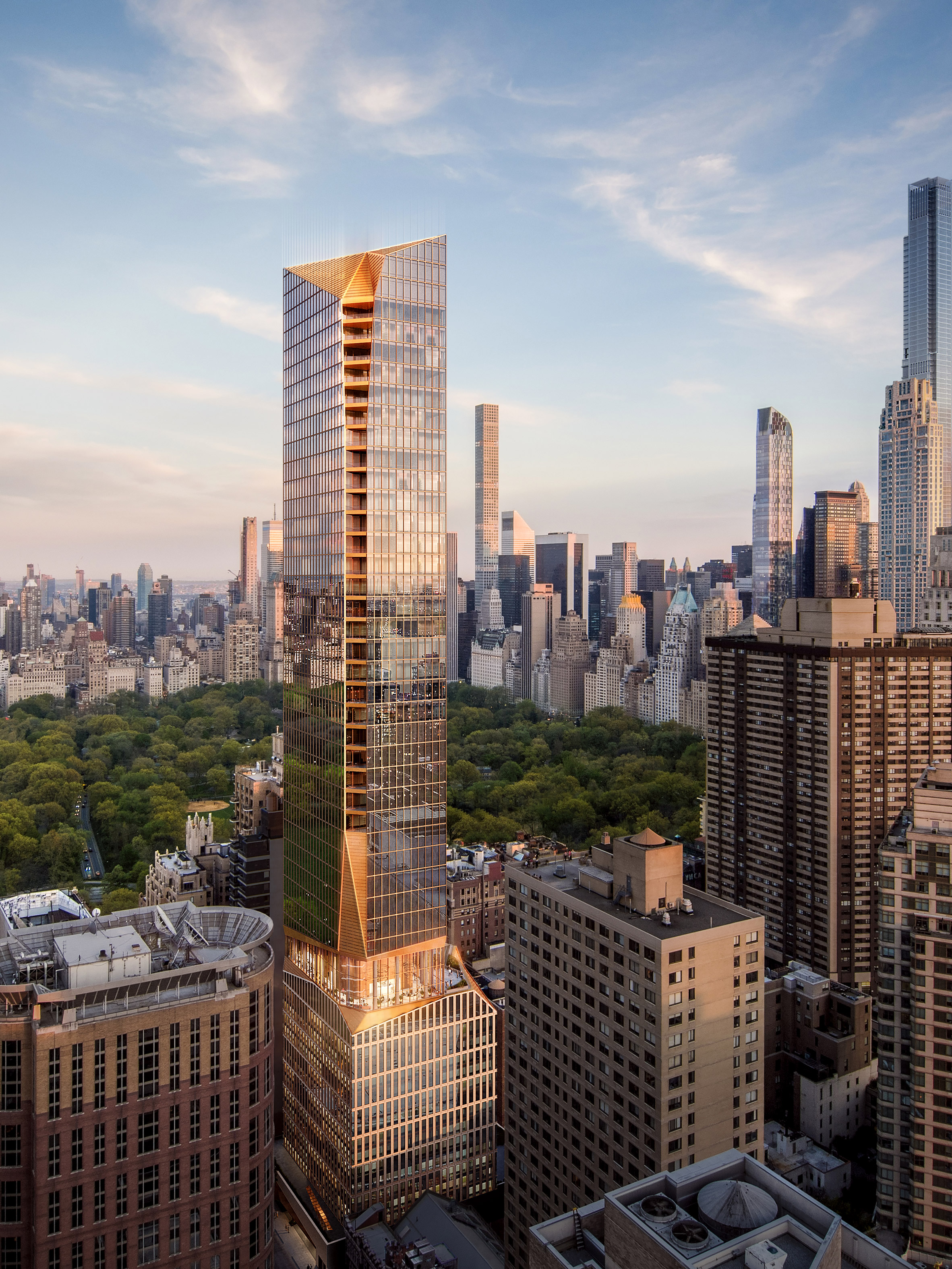 "Snøhetta unveils ""chiseled"" New York tower with bronze details"
