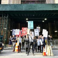 "Architects protest AT&T Building plans with ""Hands off my Johnson"" placards"