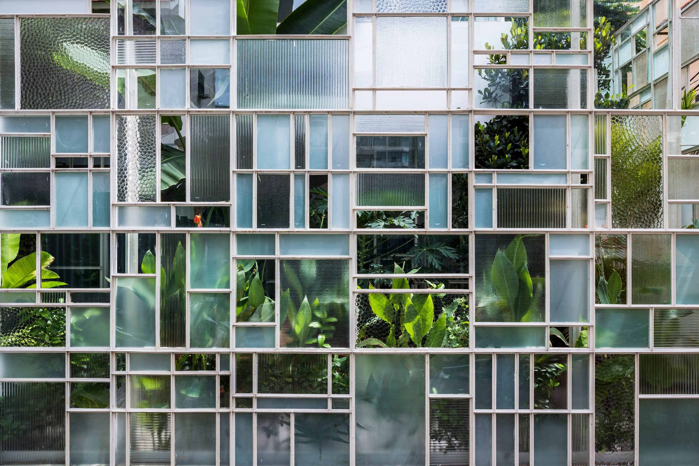Tropical plants and geometric glass walls screen house and restaurant in Ho Chi Minh City