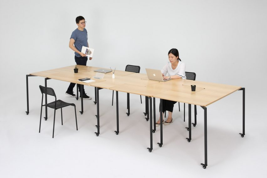 Tetris table by people 39 s industrial design office slots together in different formations - Industrial style mobel ...