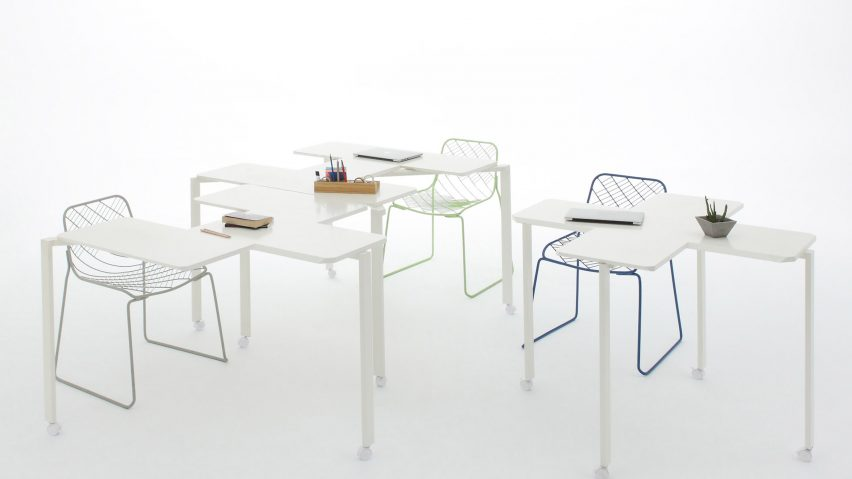 tetris furniture tetris table by peoples industrial design office slots together in different formations