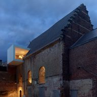 Klaarchitectuur inserts new architecture studio inside dilapidated Belgian chapel