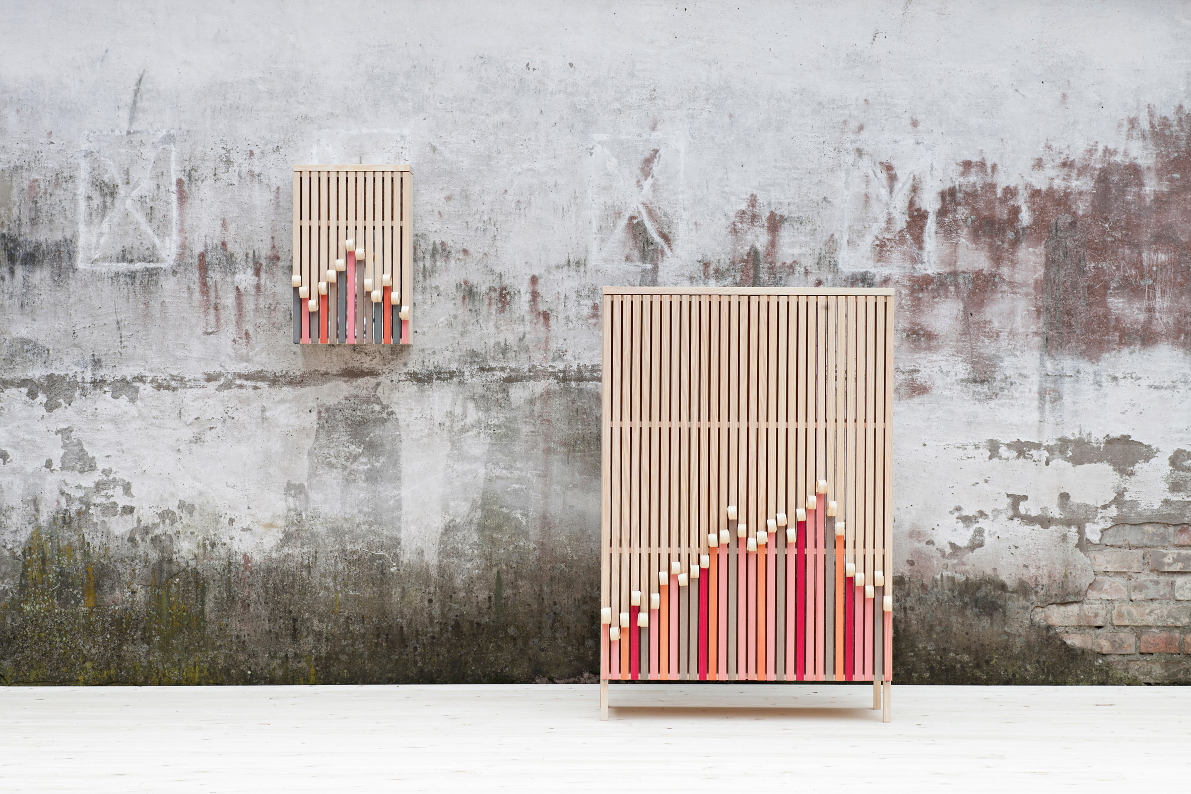 Stoft designs wooden cabinets that peel away over time