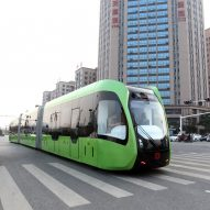 """Trackless, driverless """"rail bus"""" takes to the roads in China"""