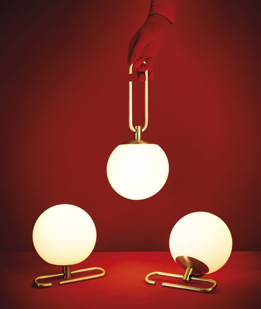 Neri&Hu's lantern-inspired lights sit on or hang from adjustable brass rings