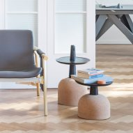 Alain Gilles stacks cork and wood to create totemic side tables