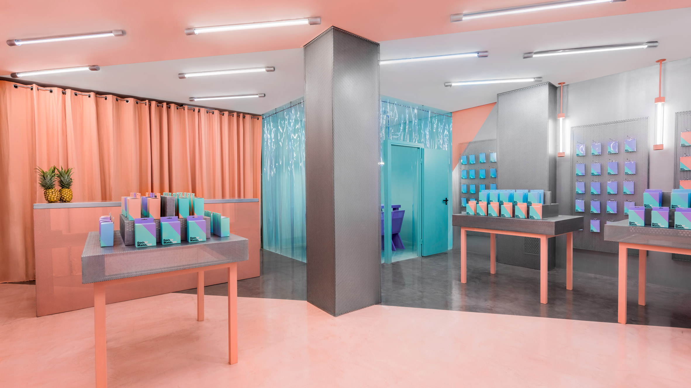 masquespacio creates clashing interior for a phone repair shop in