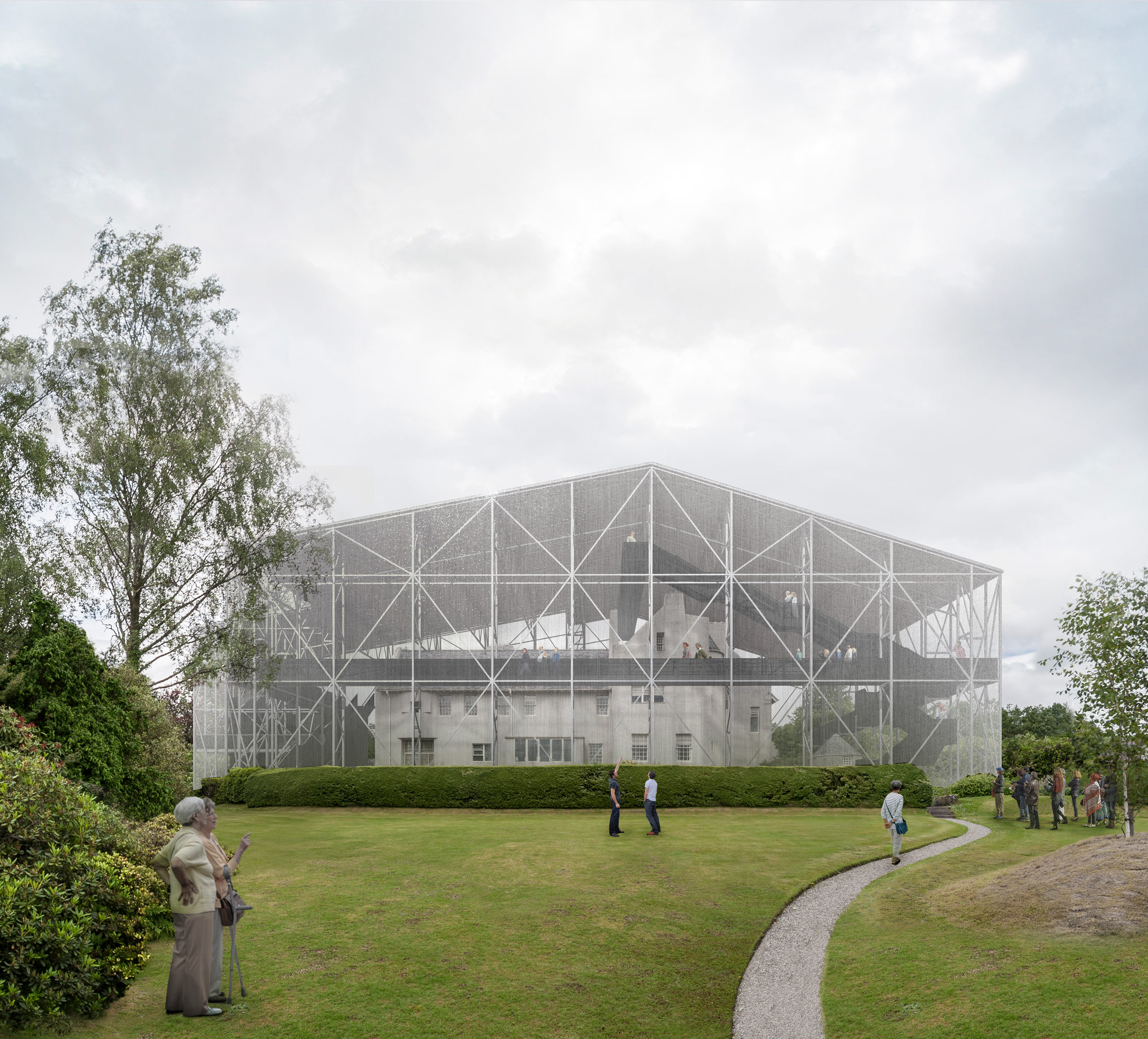 "Carmody Groarke unveils plans to build transparent ""shield"" around Mackintosh's Hill House"