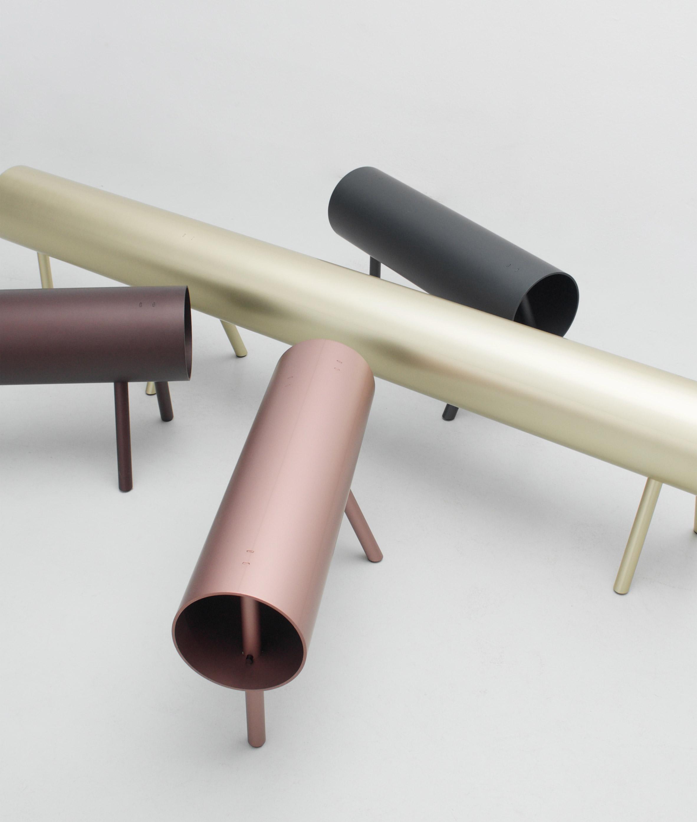 OS & OOS creates sawhorse-inspired furniture using aluminium pipes