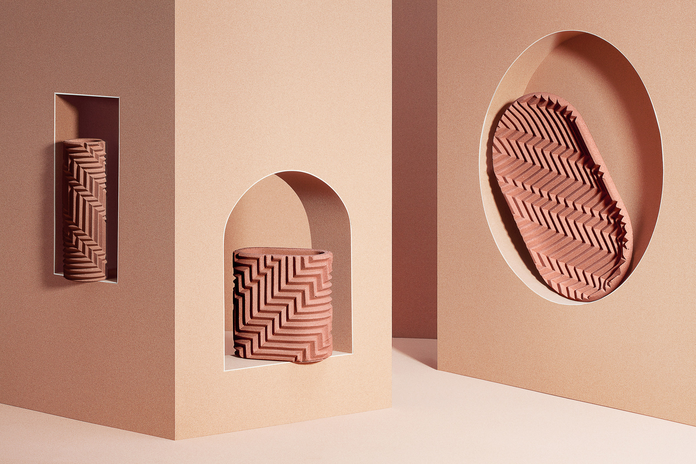 Phil Cuttance creates herringbone-patterned objects from Jesmonite material