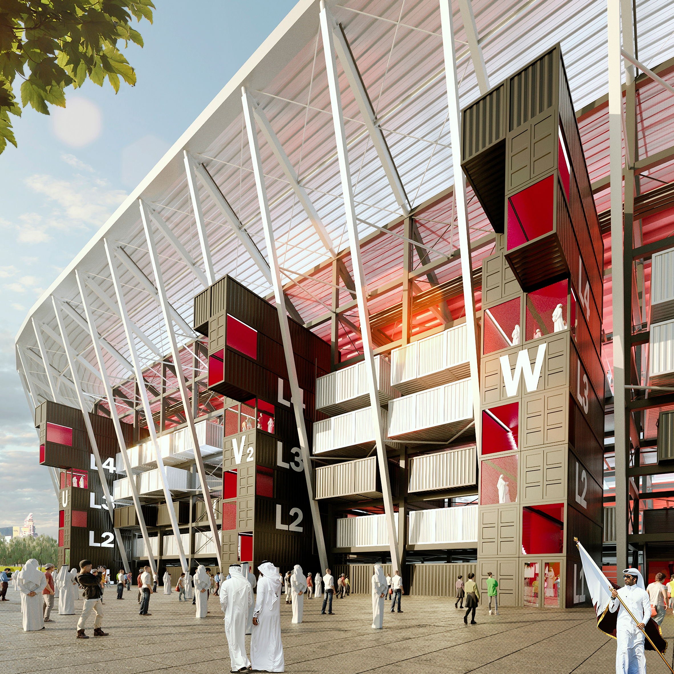 Qatar's shipping-container football stadium can be taken apart and  reassembled after the match