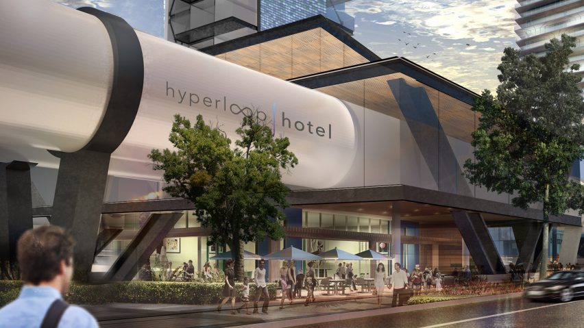 The student winner in 2017 by Brandan Siebrecht is a concept for a hotel made up of shipping containers that utilise Hyperloop technology & Call for entries to the Radical Innovation Award for hotel design