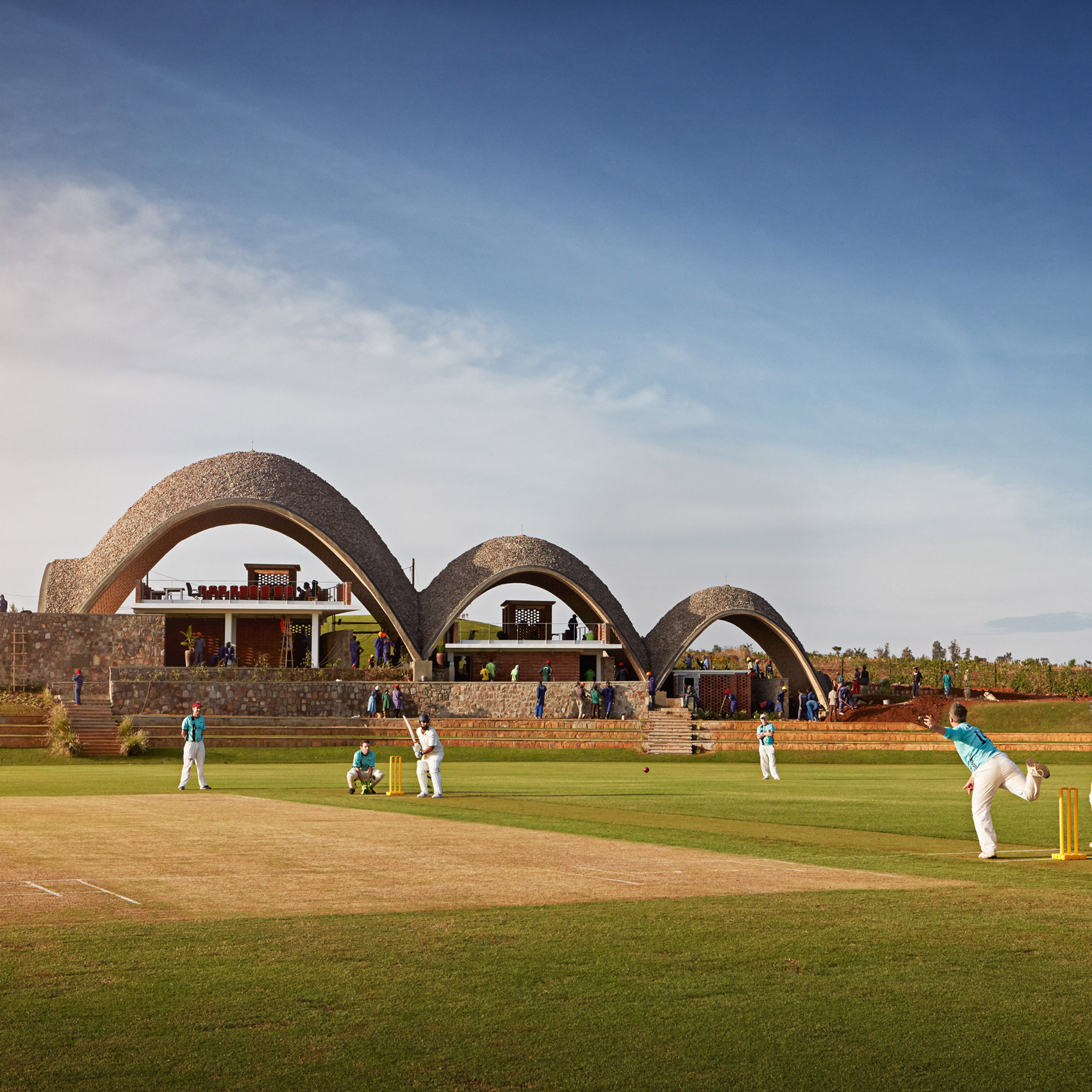 Light Earth Designs creates sustainable cricket pavilion featuring  self-supporting parabolic roofs
