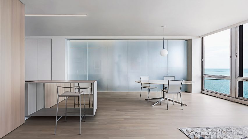 Vladimir Radutny Honours Mies At Renovated Lake Shore Drive Apartment Gorgeous Interior Design Firms In Chicago Exterior
