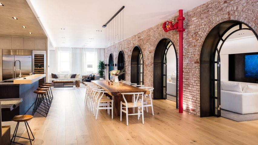 Raad Studio Turns Two Tribeca Lofts With Exposed Arches Into Huge Apartment