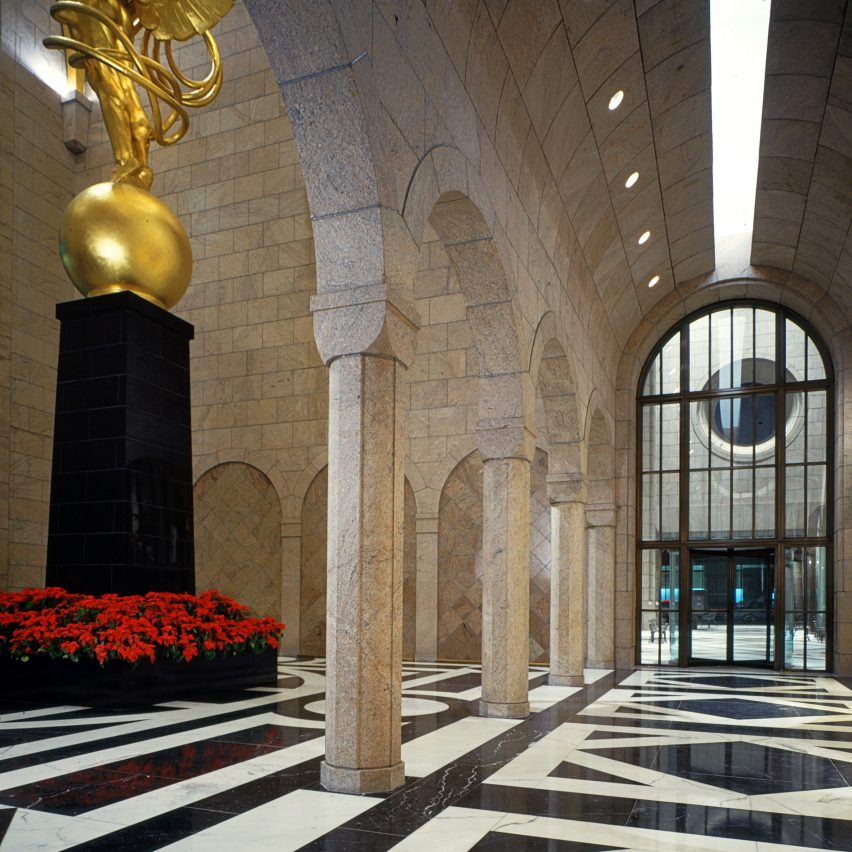 AT&T Building lobby by Philip Johnson