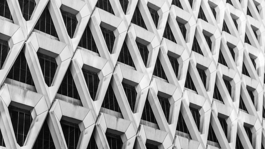 Brutalist-inspired wallpaper collection features Welbeck Street car park and Rio de Janeiro cathedral
