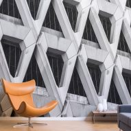 Brutalist-inspired wallpaper range features Welbeck Street car park and Rio de Janeiro cathedral