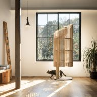 Yoh Komiyama's climbing toy for cats doubles as a minimalist home decoration