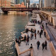 Drone footage captures bustling Chicago Riverwalk one year after completion