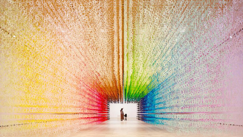 Emmanuelle Moureaux\'s rainbow installation changes colour over time