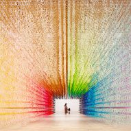 Emmanuelle Moureaux's rainbow-hued installation seemingly changes colour