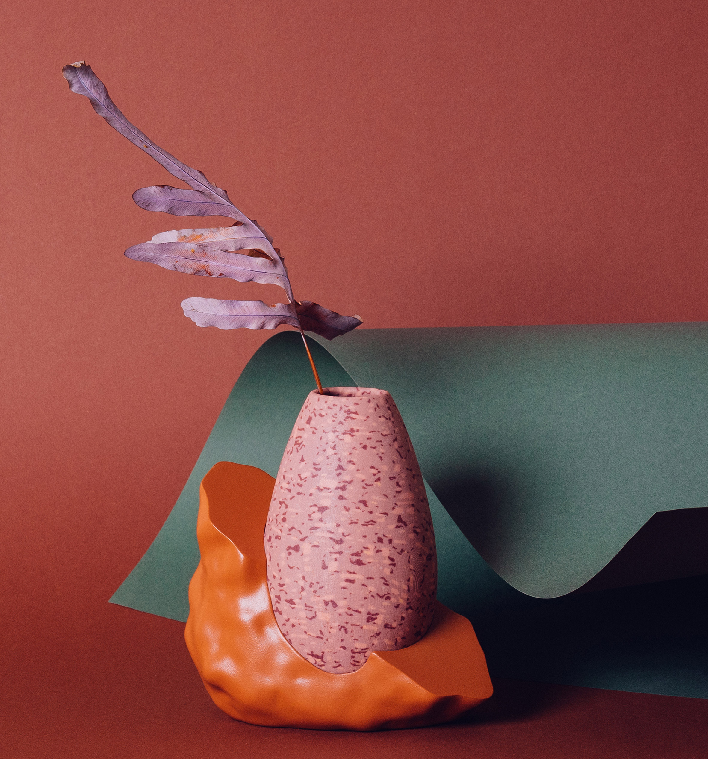 Wang & Söderström's trio of 3D-printed vases feature mottled patterns and bulbous bases