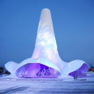 World's tallest ice tower built with the shape of a flamenco dress