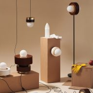 Haos combines layers of wood, ceramic and brass to create cylindrical lamps