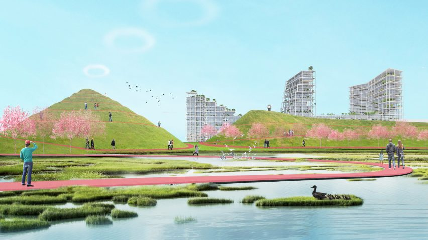 Renderings Show Silos Covered By Mounds Of Earth To Make Green Hills And A  Pink Hued A Nature Pathway