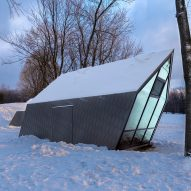 Gabled kiosks by Atelier Urban Face tilt away from Mount Royal's slope
