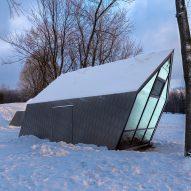 Gabled kiosks by Atelier Urban Face tilt away from Mount Royal's slope